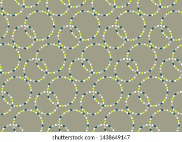 Seamless heart pattern. Ring, circle view signs. Texture of love symbols. Holiday, birthday, Valentine day, Easter, dress design theme. White, gray, green colored background. Vector