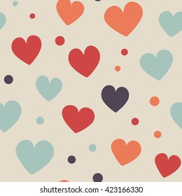 Seamless hearts and dots pattern. Simple vector repeating texture.