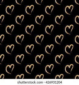 Seamless hearts and dots pattern. Vector repeating texture