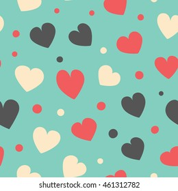 Seamless hearts and dots pattern. Vector repeating texture.
