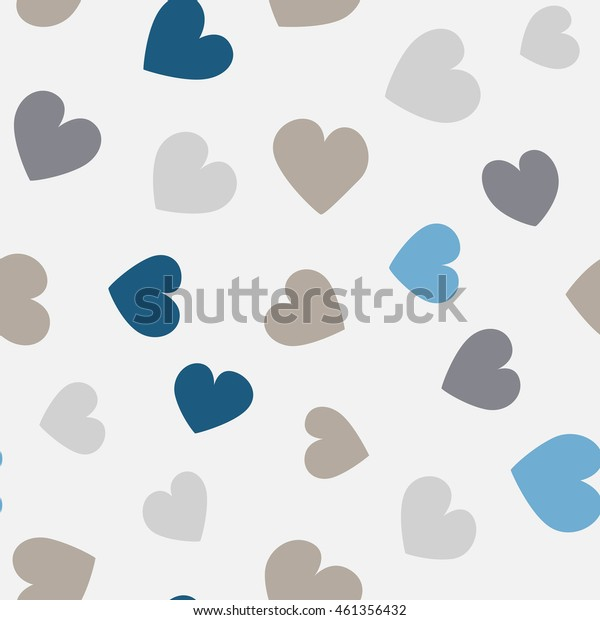 Seamless hearts pattern with gray background. Vector repeating texture.