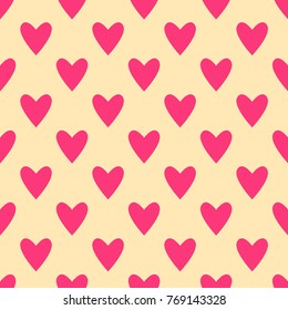 Seamless hearts pattern in pink and beige. Valentine's day tile background. Romantic vector pattern.