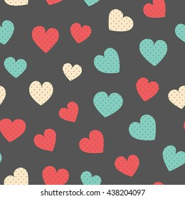 Seamless hearts pattern. Vector repeating texture.