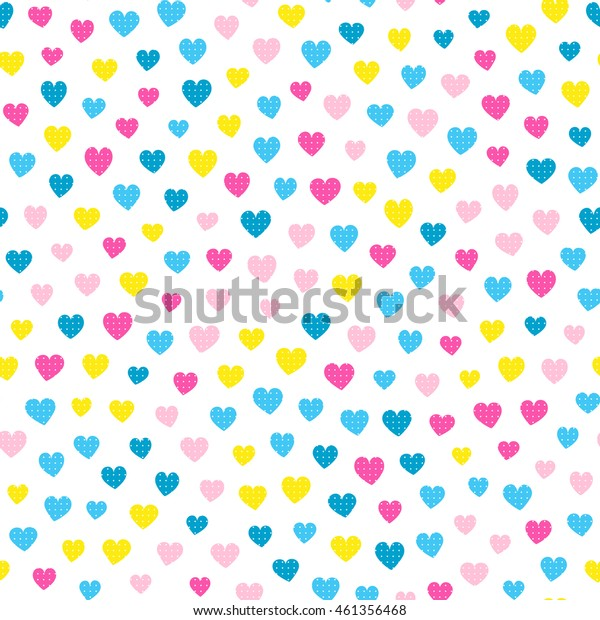Seamless hearts pattern with white background. Vector repeating texture.