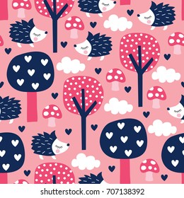 seamless hedgehogs and forest pattern vector illustration