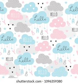 seamless hello baby clouds pattern vector illustration