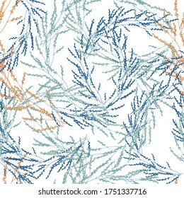 Seamless herbal pattern. Vector botanical illustration, texture for fabric, home textile and bedding.