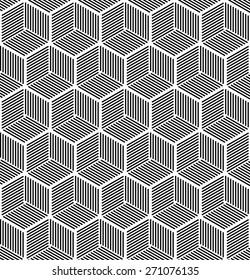 Seamless hexagonal line cube pattern