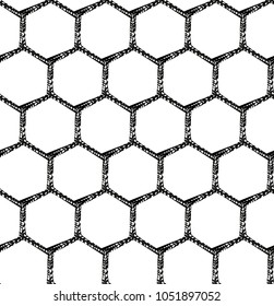A seamless hexagonal pattern black and white background