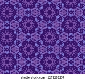 Seamless hexagonal pattern from violet geometrical abstract ornaments on a dark purle background. Vector illustration. Suitable for fabric, wallpaper and wrapping paper