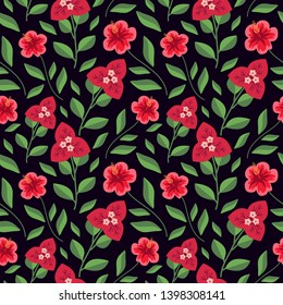 Seamless hibiscus and bugambilia pattern