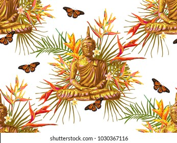 Seamless hippie pattern with sitting Buddha, palm leaves, flowers, butterflies. Asian esoteric vector illustration background perfect for wallpaper, pattern fill, web page, surface texture, textile