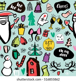 Seamless Holiday hand drawn pattern with a lots of Christmas elements. Vector Illustration