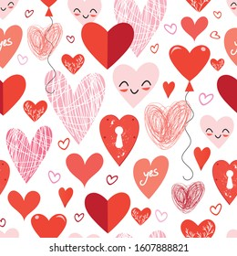 Seamless holiday pattern with different loving hearts on white background