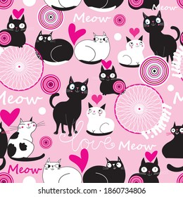 Seamless holiday pattern with loving cats on a beautiful background. Beautiful ornament with cats for Valentine's Day.