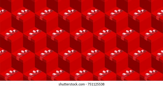 Seamless holiday present boxes pattern, isometric and red, abstract background