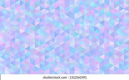 Seamless Holographic Gradient Triangle Vector Pattern. Iridescent Sparkling Polygonal Background. Fantasy Blue, Pink, Aqua & Purple Glittering Low Poly Texture. Repeating Pattern Tile Swatch Included
