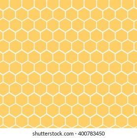 Seamless Honeycomb Pattern. Hand drawn yellow honey sweet background.  Honey pollinate. Yellow bee colony.