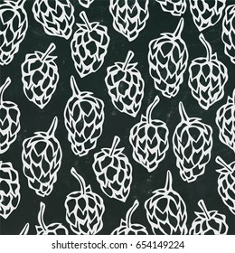 Seamless with Hops. Isolated on a Black Chalkboard Background. Realistic  Hand Drawn Sketch Vector Illustration. Beer Pattern. Savoyar Doodle Style.