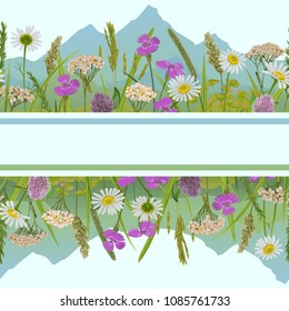 Seamless horizon border with herb, field flowers, mountains in watercolor style. Greenery natural repeat wallpaper for web banners, country backgrounds, alpine template with text place and covers.