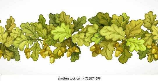 Seamless horizontal autumn garland from oak branches with leaves and acorns isolated on white background
