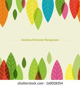 Seamless horizontal background. Varicolored leaves, autumn design