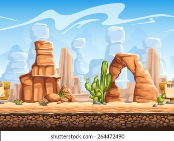 Seamless horizontal background wild west. Set 1  for video web game user interface