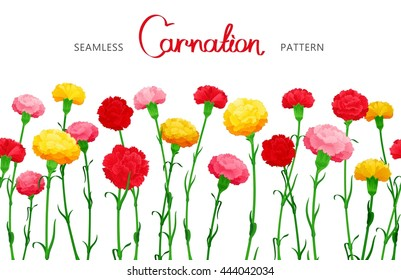 Seamless horizontal border of Carnation flowers. The multicolored buds on long stems. Middle filling space design