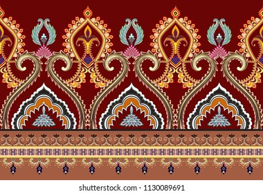 seamless horizontal  border with decorative curls, narrow  stripes and elements in yellow and brown tint on a dark red  background