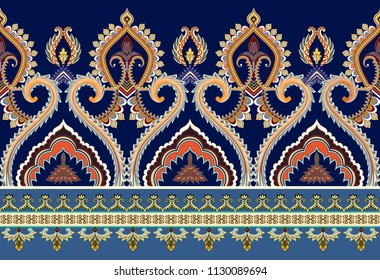 seamless horizontal  border with ethnic ornament decorated  curls, narrow band and ornate elements on a blue background