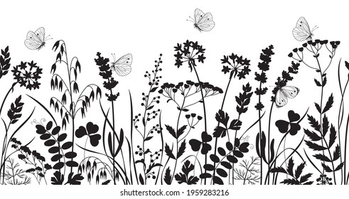 Seamless horizontal border made with monochrome wild plants and butterflies. Black silhouette meadow grass and wildflowers in row on white background.  Floral pattern vector flat illustration.