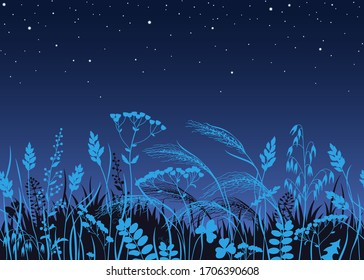 Seamless horizontal border made with wild plants in moonlight. Blue silhouettes of meadow grass and wildflowers on dark starry sky at night. Floral natural pattern vector flat illustration.