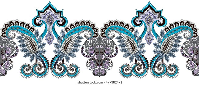 seamless horizontal border with paisley,swirls in turquoise and gray tint
