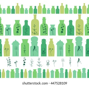 Seamless horizontal borders with small vintage bottles. For your design