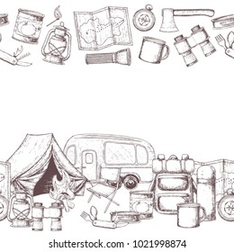 Seamless horizontal borders of travel equipment. Accessories for camping and camps. Sketch illustration of camping and tourism equipment. Vector