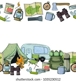 Seamless horizontal borders of travel equipment. Accessories for camping and camps. Colorful sketch cartoon illustration of camping and tourism equipment. Vector