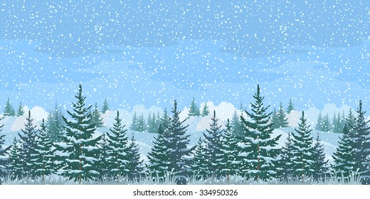 Seamless Horizontal Christmas Winter Forest Landscape with Firs Trees and Sky with Snow. Eps10, contains transparencies. Vector