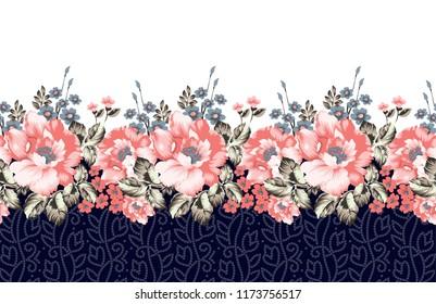 seamless horizontal flower border on navy