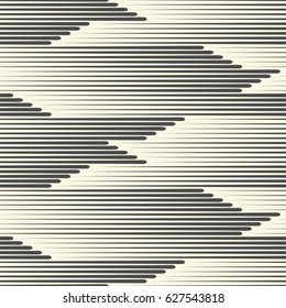 Seamless Horizontal Line Pattern. Abstract Fabric Texture. Vector Black and White Background