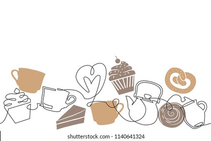 Seamless Horizontal Pattern. Background with Cups, Kettle and bakery produkts.  Continuous drawing style. Vector illustration.