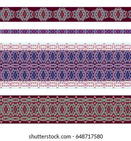 Seamless horizontal pattern with decorative elements. Traditional ethnic colored ornament. Vector set of 4. Classic design for fabric. Use for  embroidery, braid, tape, ribbon.