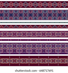 Seamless horizontal pattern with decorative elements. Traditional ethnic colored ornament. Vector set of 8. Classic design for fabric. Use for  embroidery, braid, tape, ribbon.