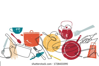 Seamless Horizontal Pattern with Utensils. Cooking Background. Vector illustration.