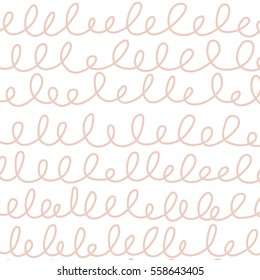 Seamless Horizontal Squiggle pattern / White background / Pink Squiggles /