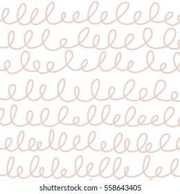 Seamless Horizontal Squiggle pattern / White background / Pink Squiggles /Pattern saved to pattern swatches
