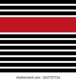 Seamless horizontal stripe pattern vector. Design black and red on white background. Design print for textile, fabric, wallpaper, background.