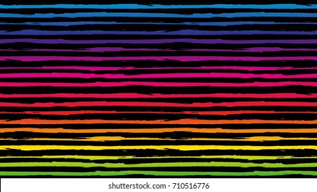 Seamless horizontal striped pattern. Ink paint brush line with torn paper effect. Ethnic background. Vector illustration. Rainbow color texture for backdrop. Retro style. Summer pattern for kids.