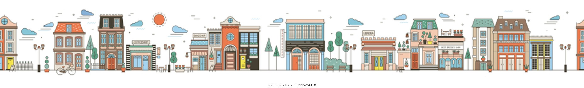 Seamless horizontal urban landscape with city street. Cityscape with beautiful buildings, residential houses, shops, park, driving car. Modern colorful vector illustration in line art style.