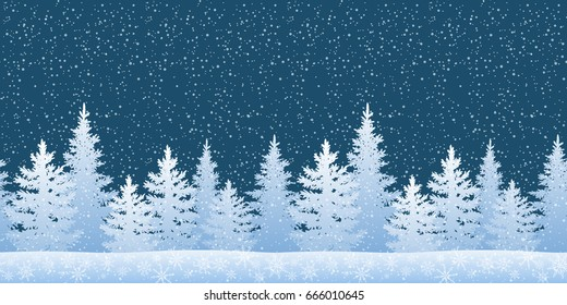 Seamless Horizontal Winter Christmas Woodland Landscape with Fir Trees Silhouettes and Snowflakes. Vector