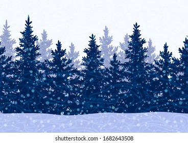 Seamless Horizontal Winter Landscape with Christmas Coniferous Trees and Snowflakes, Tile Holiday Background. Vector